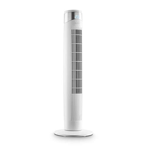 Klarstein Storm Tower Ventilator Turmventilator (3 Windarten, 6 Geschwindigkeiten, LED-Display, 55 Watt, Tragemulde, Touch-Bedienfeld, zuschaltbare Oszillation bis 80°, inkl. Fernbedienung) weiß