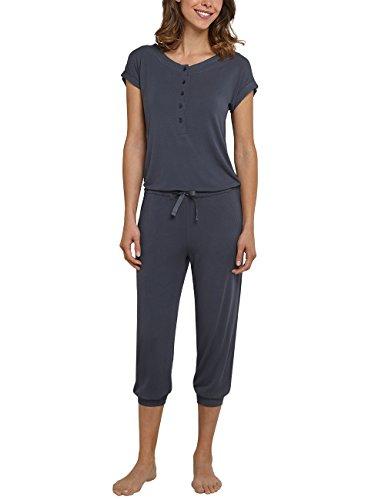 Schiesser Damen Schlafanzughose Jumpsuit 3/4, 1/4 Arm, Grau (Anthrazit 203), 36 (Herstellergröße 036) (Modal-jersey-kurz)