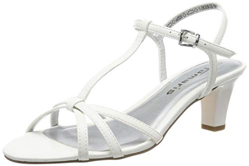 Tamaris Damen 1-1-28329-22 T-Spangen Sandalen, Weiß (White Matt 108), 37 EU