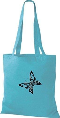ShirtInStyle Stoffbeutel Schmetterling Butterfly Libelle Käfer Marienkäfer Kult sky