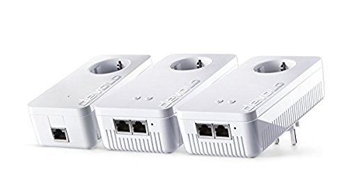 devolo dLAN 1200+ WiFi ac Powerline Network Kit (1200 Mbit/s WLAN ac, WLAN Verstärker, 2x LAN Ports, 3x Powerlan Adapter, ideal für Online Gaming und HD-Streaming, Powerline WLAN, Mesh WLAN) weiß (3-port-kabel-verstärker)