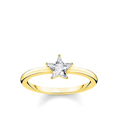 THOMAS SABO Damen Ring Funkelnder Stern Gold 925 Sterlingsilber, 750 Gelbgold Vergoldung TR2270-414-14