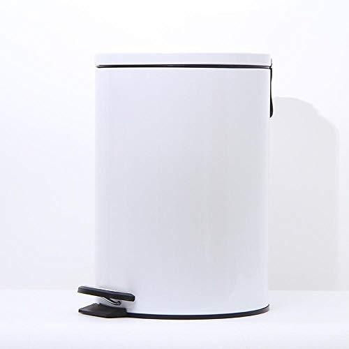 12L Pedal Bin | Elegant Looking Trash Bin with Flat Lid | Waste Bin for Bedroom, Bathroom, Kitchen Waste Disposal Bin with Pedal and Inner Bucket white-12L White Pedal Bin