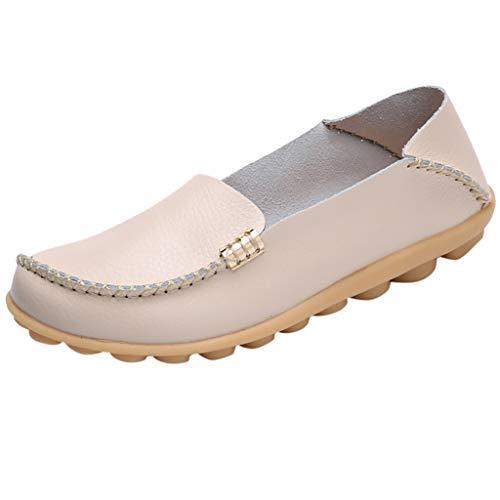 Mokassin Bootsschuhe/Damen Dorical Kunstleder Loafers Fahren Flache Schuhe Halbschuhe Slippers Erbsenschuhe Atmungsaktiv Freizeit Fahren Halbschuhe Gartenschuhe,11 Farben 34-44 EU(Beige-2,43 EU)
