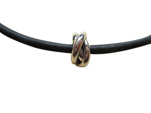 Shorething UK in argento Sterling massiccio Lucky/nodo eterno collana in pelle 3mm, colore: nero (Eterna Nodo)