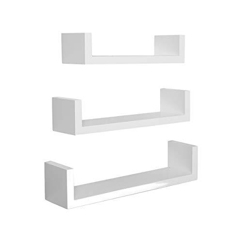 LEMAIJIAJU Wandregal 3er Set U-Form Schweberegal Hängeregal Wandboard 40/35/30cm Weiß