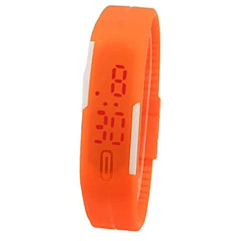 Unisex Fashion Touch Bildschirm LED Armband Digital Uhren Damen Armbanduhr Orange