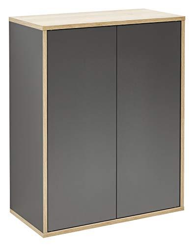 FACKELMANN Doppel-Midischrank Finn/Badschrank mit Push-to-Open/Maße (B x H x T): ca. 60 x 75 x 30,5 cm/Schrank fürs Bad mit 2 Türen/Korpus: Schwarz/Front: Schwarz/Rahmendekor: Braun hell -