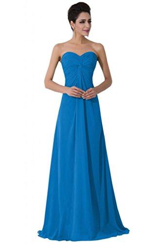 Sunvary Sweetheart Chiffon Empire vita, per abiti da sera o da cerimonia, con diamanti Blue