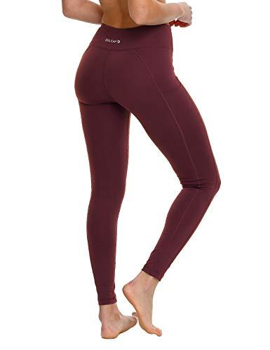 BALEAF Damen Yoga Workout Leggings Seitentasche für 5,5 Zoll Handy, Damen, Y-Ruby Wine, X-Large Ruby Red Handy