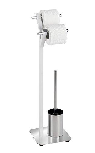 Wenko 22722100 Combiné WC Albero, Blanc, Acier Inoxydable, Chromé, 22 x 11 x 75 cm
