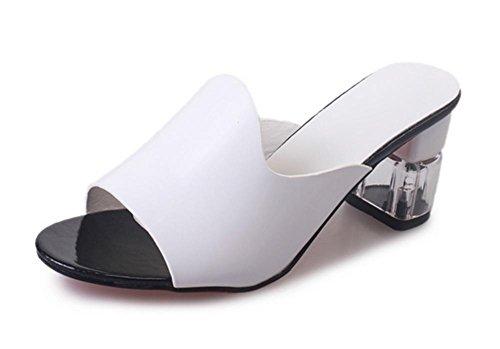 Frau dick mit Sandalen und Pantoffeln weiblicher Fischkopf High Heels im Sommer im Freien weiblichen Hausschuh Kristall Wort White