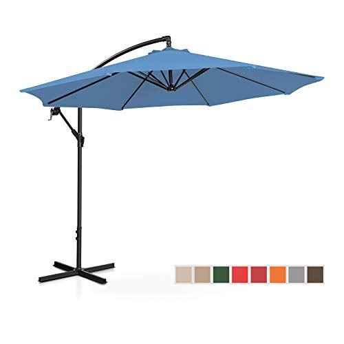 Uniprodo Parasol De Jardin Protection Solaire UNI_Umbrella_R300BL (Bleu, Rond, inclinable, Acier, Polyester, Ø 300 cm, Filtre UV)