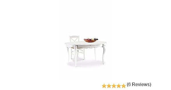 LAquila Design Arredamenti CLASSICO tavolo da pranzo Shabby Chic bianco ovale allungabile con intarsio 160x110 1289