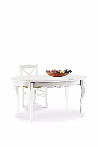 L'Aquila Design Arredamenti 1289 Classique Table de salle à manger style shabby chic, blanche, ovale, extensible avec marqueterie 160 x 110 cm