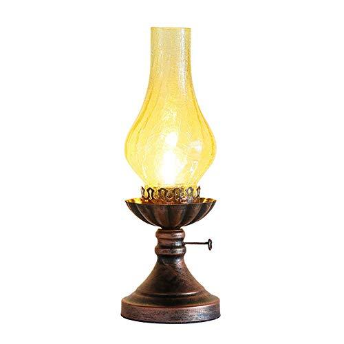 FYLD Altmodische Kerosin-Lampen-Tischlampe, Neue chinesische Retro Schlafzimmer-Nachttischlampe, kreative amerikanische Klassische Arbeitszimmer-Dekorations-Tischlampe, 14 * 40CM, E27, 220v,A