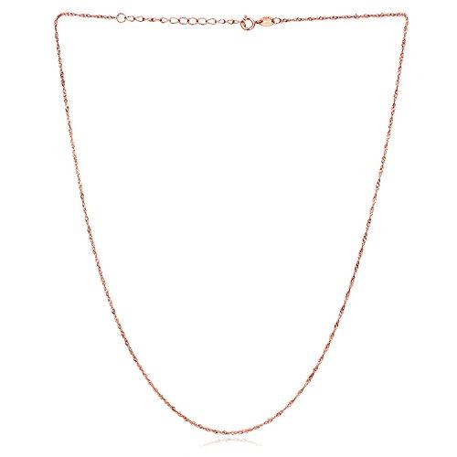 City Ouna® 18 Pouces (45cm) Femmes Hommes 925 Argent Sterling Collier Rose Gold Eau Forme chaîne plaquée