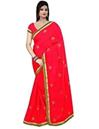 Ganga Silk Saree With Blouse Piece (123_Red_Free Size)