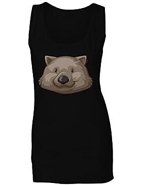Nueva Ilustración De Cabeza Animal Divertido camiseta sin mangas mujer h448ft
