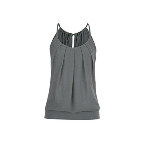 VEMOW Elegante Damen Frauen Mädchen Sommer Lose Runzeln O Neck Cami Tank Tops Weste Bluse T-Shirt Pullover T-stücke Pulli(Grau, EU-48/CN-5XL)
