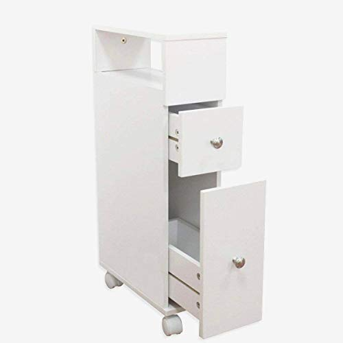 MAIMAITI badezimmerschrank Klein Holz,Schubladenschrank, mit 2 Schubladen Weiß