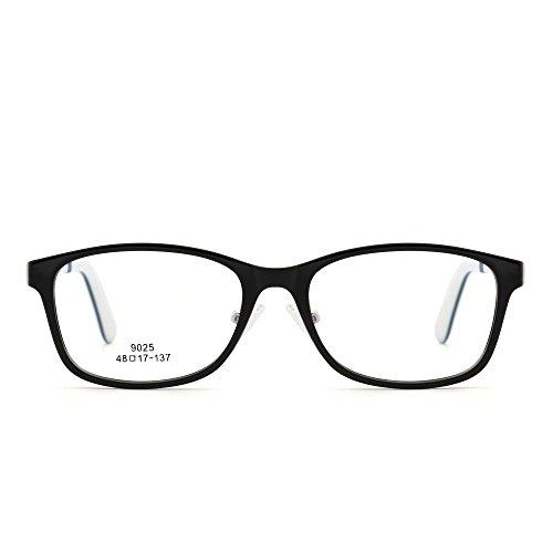 JIM HALO Kinder Rechteck Brillen Optisch TR Rahmen Mädchen Jungen Nicht Verschreibung Klar Linse(Glänzend Schwarz/Klar)