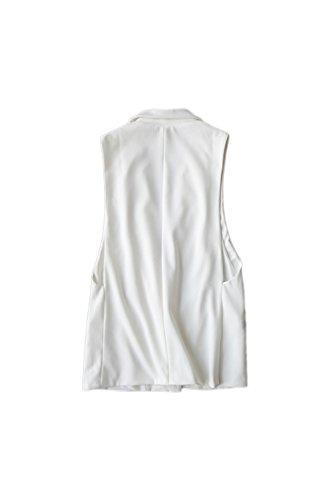 Yacun féminines à col chemisier gilet Cardigan avant ouvert white