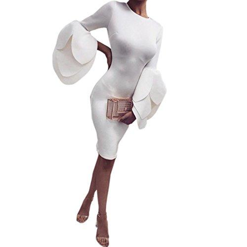 Damen Kleider, GJKK Damen Elegant Petals Ärmeln Kleid Enges Kleid Damen O-Ausschnitt Abend Party Minikleid Partykleid Abendkleid (Khaki, L) (T-shirt Khaki-erwachsenen)
