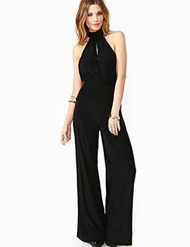 GSP-Combinaisons Aux femmes Sans Manches Sexy/Décontracté/Mignon/Grandes Tailles Mousseline de soie Fin Non Elastique black-2xl