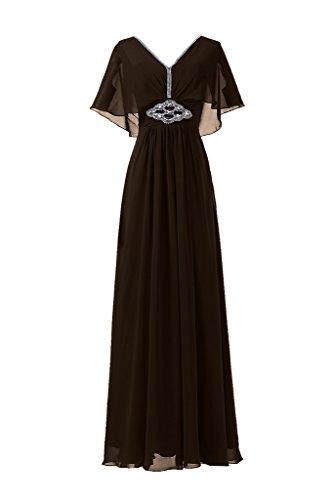 Sunvary Neu V-Ausschnitt Abendkleider Lang Chiffon Ballkleider Partykleider Brautjungfernkleider Schokolade