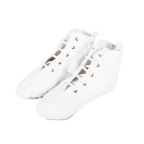 Wgwioo Moderne Lace-Up Bühne Ballett-Tanz-Schuhe Stiefel Weiche Sohle Für Männer Frauen Kleinkind Schnürer Mädchen Leinwand Jazz Dance Boots Elastic , White , 38 (Ballett-stiefel)