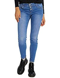 2908aedf216fa4 Sublevel Ladies Button Fly Skinny Fit Denim Jeans Blue