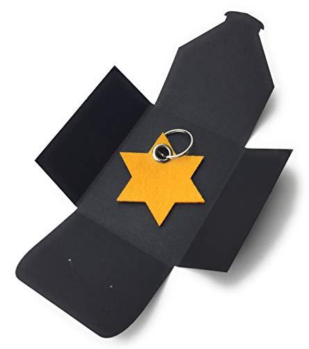 filzschneider Schlüsselanhänger aus Filz - 6eck-Stern - gelb/safran-gelb - als besonderes Geschenk mit Öse und Schlüsselring - Made-in-Germany