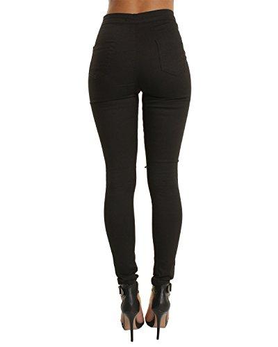 Damen Skinny Jeans Hose Schwarz - Knierissen