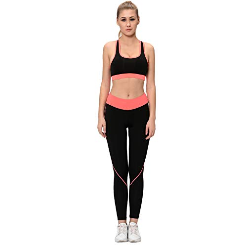 Elina Women's Sports Bra Yoga Pants Gym Outfits Breathable Exercise Stretchable Padded Bra and Leggings (Black Orange_XL)