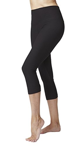 Women's Lightweight Tummy Control Standard Waist Crop Pant/Cropped Leggings-Black-X-Small (36) -