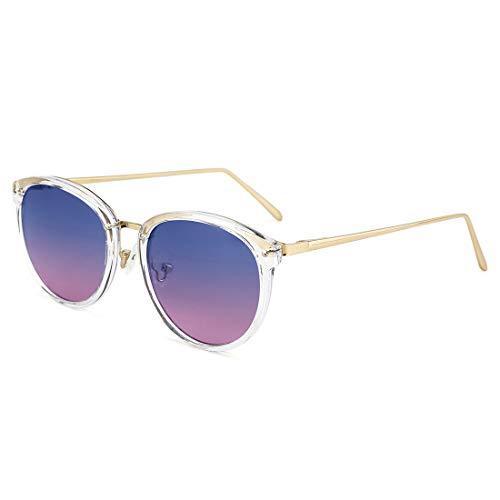 TIJN Rund Brille Ohne Sehstärke Brillengestelle Damen Brillenfassung Fake Brille Ohne Stärke für Herren (Transparenter Rahmen/Blaue Linse)