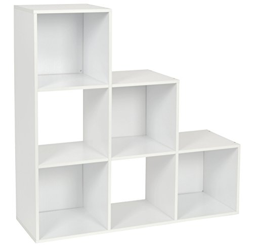 ts-ideen Stufenregal Design Regal 6 Fächer Standregal Bücherregal CD-Regal Aufbewahrung Holz Weiss 90 x 90 cm (2 Regal Mdf Bücherregal)