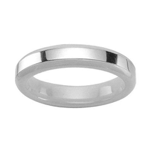 Weiß Keramik Ring 4mm glatt Keramik Draht Edelstahl - Größe 50 -