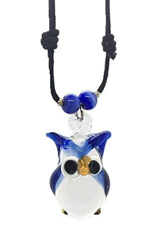 Hand Art Glass, handmade Blau Eule Art Glas geblasen Tier Figur Anhänger Halskette Schmuck–Modell, von Amata Kufu Elegant. (N0050)