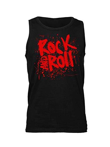d8e851de9 Rock and Roll Splashed Design Camiseta sin Mangas para Hombre Large