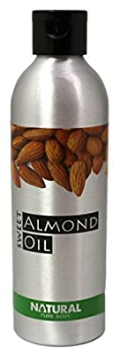 Natural Sweet Almond Oil - 200ml - Cold Pressed, Vegan Friendly, Suitable for Babies - With Moisturising, Nourishing Emollient Properties for Skin and Hair Use, By Natural Pure Body. Use as a Carrier Oil in Aromatherapy or as a Luxurious Massage Oil. Enri