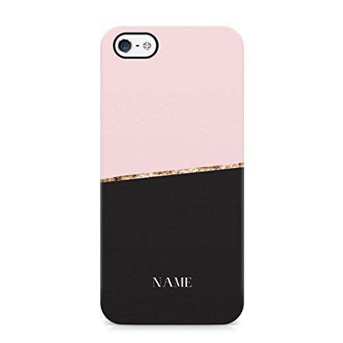Custom Personal Name Schwarz & Rosa Blocks Schutzhülle aus Hartplastik Handy Hülle für iPhone 5/iPhone 5s/iPhone SE Case Hard Cover