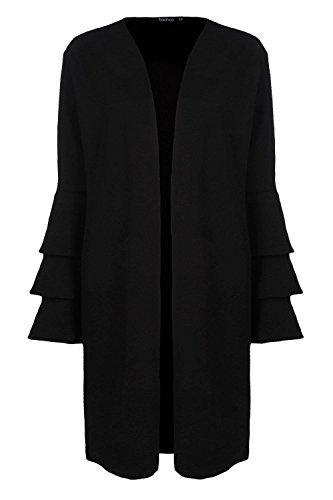 Femmes Noir Kerry Manteau Ample À Manches Volantées Noir