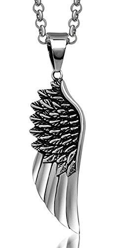 XBYN Men Titan Stahl Retro Punk Engels Flügel Feder Halskette (Feder-flügel Verkauf Zum)