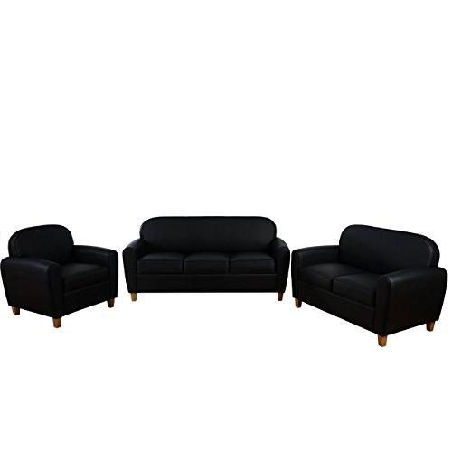 3-2-1 Sofagarnitur Malmö T377, Couch Loungesofa, Retro 50er Jahre Design ~ schwarz, Kunstleder