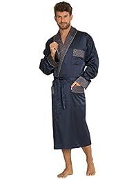 Hommes Classique Satin Lisse Les Vetements De Salon Confortable Robe De Chambre Longues Ceinture