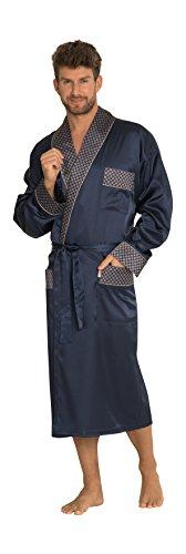 Herren Klassisch Glatter Satin Entspannter Tragen Morgenmantel Lange Bequeme Robe (Klassische Satin-robe Lange)