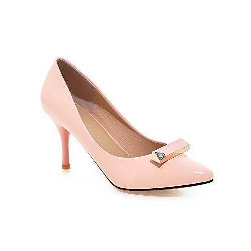 AllhqFashion Damen Stiletto Ziehen Auf Spitz Schließen Zehe Lackleder Pumps Schuhe Pink