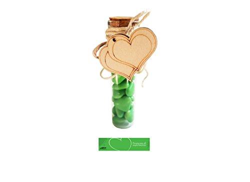 Kit 24 provette promessa + decorazioni legno + confetti cuoricini + juta + bigliet